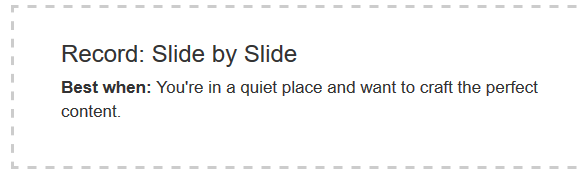 """Capture d'écran : option """"Record slide by slide"""""""