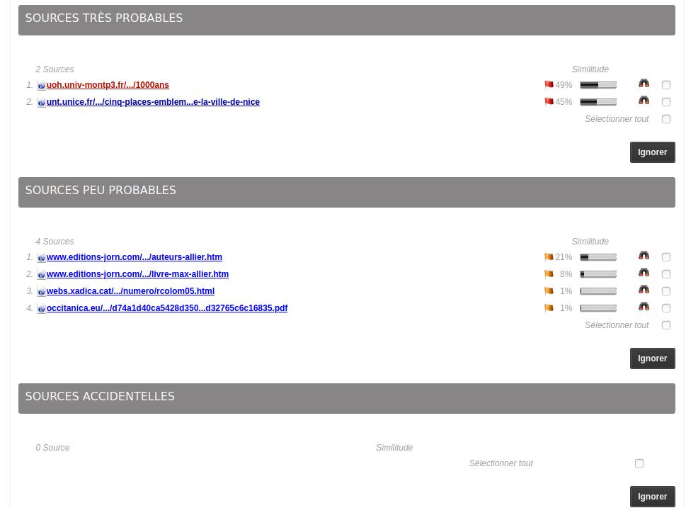 Exemple des sources Compilatio